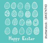 happy easter eggs blue... | Shutterstock .eps vector #184374743