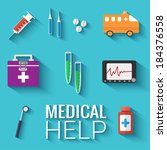 medicine flat icons set concept.... | Shutterstock .eps vector #184376558