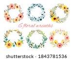 set of floral wreath water... | Shutterstock .eps vector #1843781536