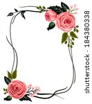 Whimsical flower frame with buttercup,rose and leaves