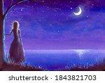 Princess Girl Looks At Moon And ...