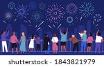 crowd of people with children... | Shutterstock .eps vector #1843821979