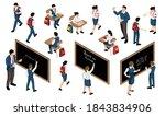 isometric school set with...   Shutterstock .eps vector #1843834906