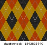 knitted argyle halloween... | Shutterstock .eps vector #1843839940