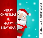 christmas santa claus stands on ... | Shutterstock .eps vector #1843859683