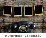 old picture frame hanging on... | Shutterstock . vector #184386680