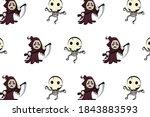 halloween pattern cute... | Shutterstock . vector #1843883593