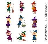 little witches set  cute girls... | Shutterstock .eps vector #1843910500