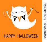 happy halloween. flying cat... | Shutterstock . vector #1843939453