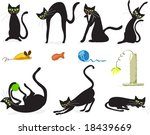 Stock vector seven black cats in various poses with cat toy accessories vector illustration fully scalable 18439669