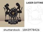 beauty salon wall clock modern... | Shutterstock .eps vector #1843978426
