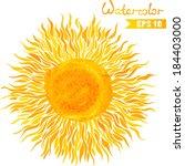 watercolor sun. sun isolated on ... | Shutterstock .eps vector #184403000