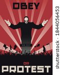 obey or protest social poster...   Shutterstock .eps vector #1844056453