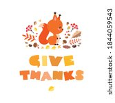 Give Thanks. Cute Illustration...