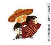 mexican musician skeleton in... | Shutterstock .eps vector #1844065060