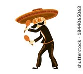 mexican musician skeleton in... | Shutterstock .eps vector #1844065063