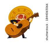 mexican musician skeleton in... | Shutterstock .eps vector #1844065066