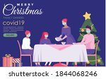 family dinner at christmas time ... | Shutterstock .eps vector #1844068246