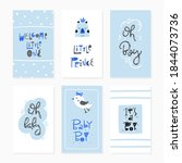 baby boy card set   hand drawn... | Shutterstock .eps vector #1844073736