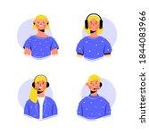 set of girls with headphones ... | Shutterstock .eps vector #1844083966