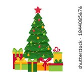 decorated christmas tree with... | Shutterstock .eps vector #1844085676