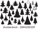 fur  tree silhouettes on white... | Shutterstock .eps vector #1844100109