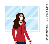 new normal of stewardess woman...   Shutterstock .eps vector #1844151346