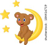 baby bear sitting on the moon | Shutterstock . vector #184416719
