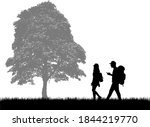 silhouettes of people with... | Shutterstock . vector #1844219770