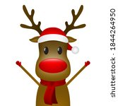 christmas reindeer with a scarf ... | Shutterstock . vector #1844264950
