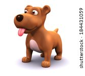 3d Render Of A Dog With His...