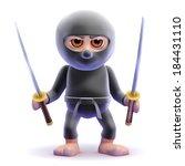 3d Render Of A Ninja Holding...