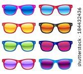 set of different sun glasses...   Shutterstock .eps vector #184432436