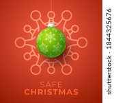 green christmas ball and... | Shutterstock .eps vector #1844325676