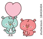 happy family of owls. beautiful ... | Shutterstock .eps vector #184434404