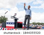 Small photo of ORLANDO, FL - OCTOBER 27, 2020: Barack Hussein Obama attended the Campaign Victory Center at Orlando and support Joe Biden to become president of the United States