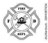 fire dept emblem with helmet...   Shutterstock .eps vector #1844387656