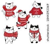 cute kitten cat cartoon in... | Shutterstock .eps vector #1844392369