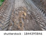 Tractor Tire Tracks On The Sand