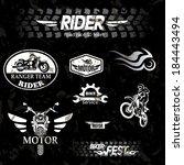 motorcycle vintage labels  set... | Shutterstock .eps vector #184443494