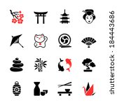 japanese theme icon set | Shutterstock .eps vector #184443686