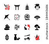 japanese theme icon set | Shutterstock .eps vector #184443686