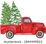 Christmas Red Retro Truck With...