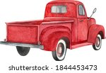 Watercolor Red Retro Truck....