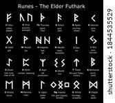 runes alphabet   the elder... | Shutterstock .eps vector #1844535529