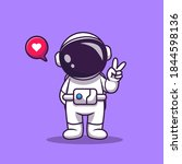 cute astronaut with hand peace... | Shutterstock .eps vector #1844598136