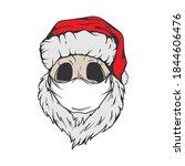 santa skull in christmas hat ... | Shutterstock .eps vector #1844606476