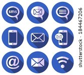 white mobile sms and mail icons ... | Shutterstock .eps vector #184467206