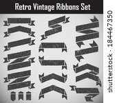 retro styled ribbons collection ... | Shutterstock .eps vector #184467350