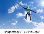 snowboarder making jump high in ... | Shutterstock . vector #184468250